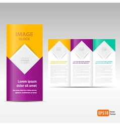 Brochure Tri-fold Design Template block for images vector image vector image