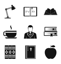 Browse icons set simple style vector