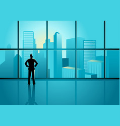 businessman looking on cityscape through the vector image