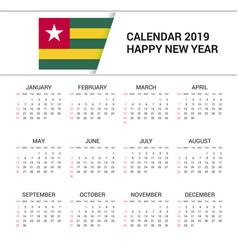 Calendar 2019 togo flag background english vector
