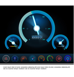 car dashboard panel gauges concept vector image