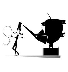 Cartoon tamer and elephant silhouettes vector