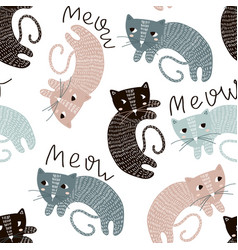 Childish seamless pattern with cute artistic cats vector