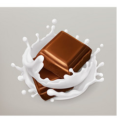 Chocolate and milk splash Chocolate and yogurt vector