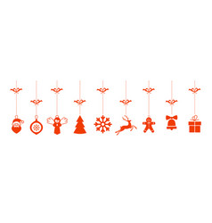 christmas greetings ornament elements hanging vector image