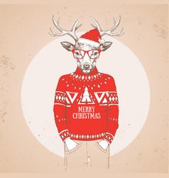Christmas hipster fashion animal deer vector