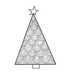 Christmas tree black and white for vector