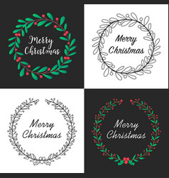 christmas wreath with floral decoration and vector image