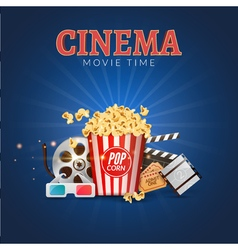 Cinema movie poster design template Popcorn vector image