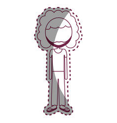 Contour man with casual cloth and moustache vector