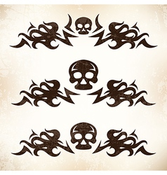 Design elements with flame and skull vector image