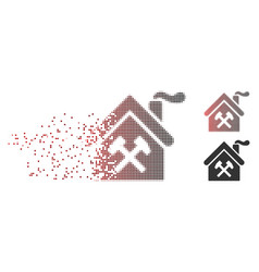 Disintegrating pixel halftone forge building icon vector