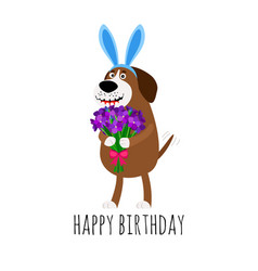 Dog with rabbit ears birthday card vector