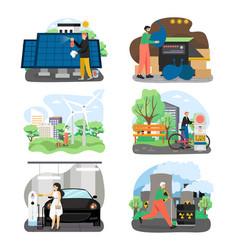 Eco green energy set flat vector