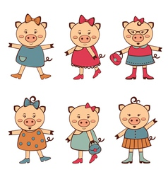 Fashionable pigs vector