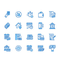 Finance money loan flat line icons set quick vector