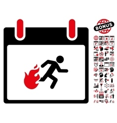Fire Evacuation Man Calendar Day Flat Icon vector image