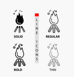fire flame bonfire camping camp icon in thin vector image
