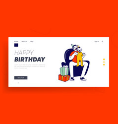 First birthday celebration website landing page vector