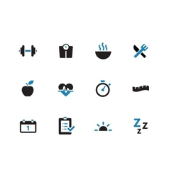 Fitness duotone icons on white background vector image