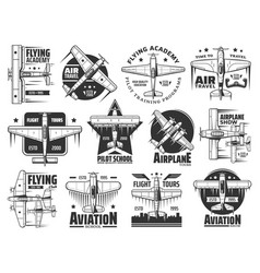 flying academy pilot school and air tour icon set vector image