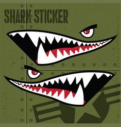 Flying tiger shark mouth sticker vinyl on green vector