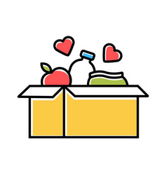 Food donations color icon charity collection vector