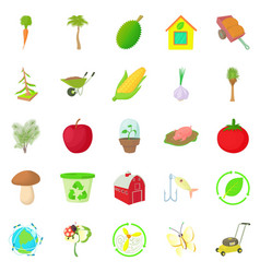 Garden icons set cartoon style vector