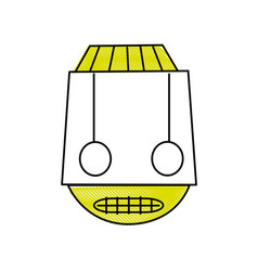 Grated robot head technology with eyes and mouth vector