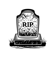 Grave with inscription rip graphic object vector
