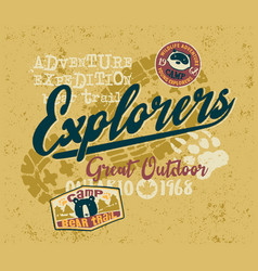 great outdoor adventure expedition explorers team vector image