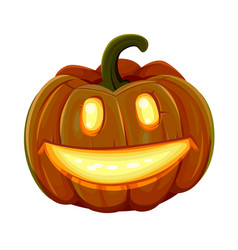 halloween pumpkin is smiling isolated on white vector image