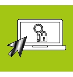 Hand draw laptop security search social network vector