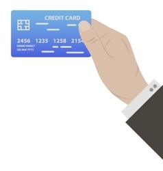 Hand with blue credit card vector