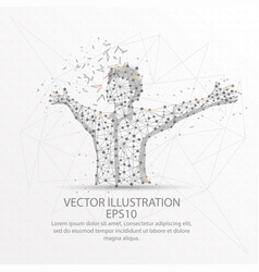 Happy man form low poly wire frame on white vector