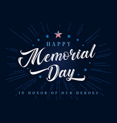 happy memorial day lettering with stars and beams vector image