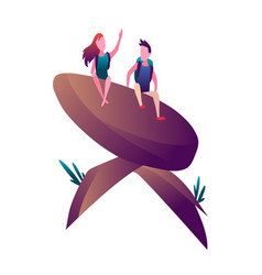 hiking man and with backpack travellers vector image