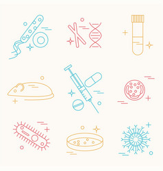 immunology research icons vector image