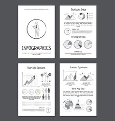 Infographics with various data on paper sheets vector