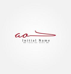 Initial letter ao logo - handwritten signature vector