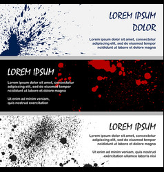 inky red an black splashes banner templates vector image