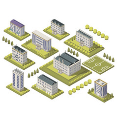 Isometric university set vector
