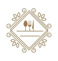 kitchen utensil with a ornament elegant frame vector image