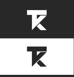 Letters tk logo monogram combination two vector