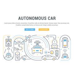 Linear banner autonomous car vector