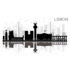 lisbon city skyline black and white silhouette vector image
