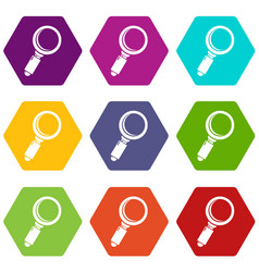 loupe icons set 9 vector image