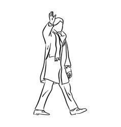 Man with winter coat saluting vector