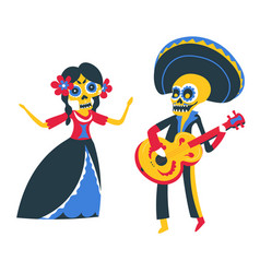 mexican performers musicians playing guitar and vector image