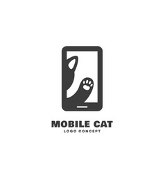Mobile cat logo vector